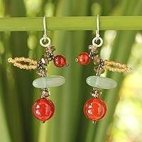 Carnelian and aventurine beaded earrings, 'Lanna Splendor' - Carnelian and aventurine beaded earrings