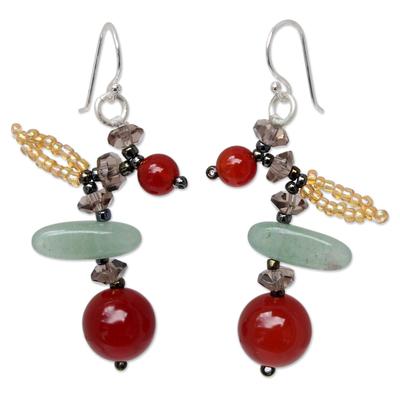 Carnelian and aventurine beaded earrings