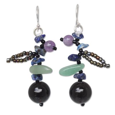 Lapis lazuli and smoky quartz beaded earrings