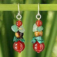 Tiger's eye and carnelian beaded earrings, 'Thai Harmony' - Multigem Beaded Sterling Silver Drop Earrings from Thailand