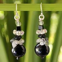 Quartz beaded earrings, 'Nocturnal Harmony' - Unique Thai Beaded Quartz Earrings