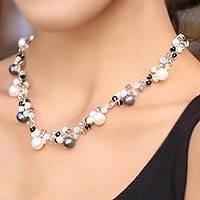 Cultured pearl choker, 'A Spark of Romance' - Pearl Choker Necklace