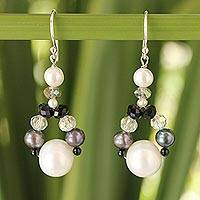 Cultured pearl dangle earrings, 'A Spark of Romance'
