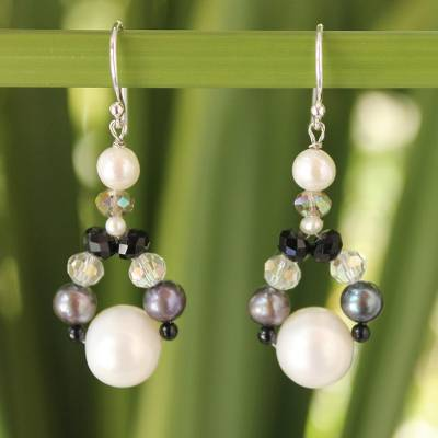 Cultured pearl dangle earrings, 'A Spark of Romance' - Hand Crafted Pearl Dangle Earrings