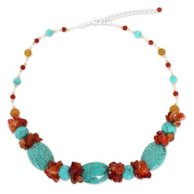 Handmade Multi-Gem Beaded Necklace with Carnelian, Yellow Agate, Blue Calcite