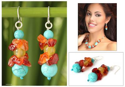 Carnelian beaded earrings, 'Bold Harmony' - Carnelian Beaded Earrings