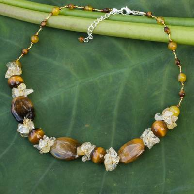 Tiger's eye and citrine beaded necklace, 'Earth's Harmony' - Beaded Tiger's Eye and Agate Necklace
