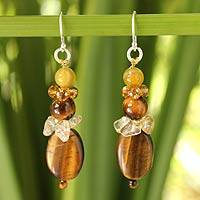 Tiger's eye and citrine beaded earrings, 'Earth's Harmony'