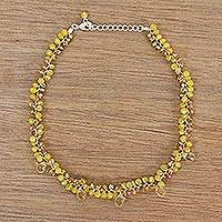 Citrine beaded choker, 'Lavish Golden Lanna'