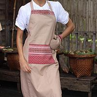 Cotton apron and oven mitt, 'Kitchen Style' - Hand Crafted Cotton Apron and Oven Mitt Set
