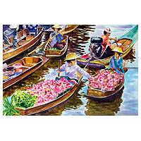 'Damnoen Saduak Floating Market' - Original Watercolor Painting from Thailand Signed