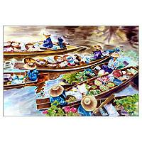 'Amphawa Floating Market' - Thai Market Scene Painting