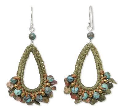 Unakite dangle earrings, 'Flirty Forest' - Handcrafted Unakite Dangle Earrings