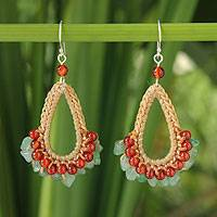 Carnelian and aventurine dangle earrings, 'Flirty Ginger' - Thai Beaded Carnelian and Aventurine Earrings