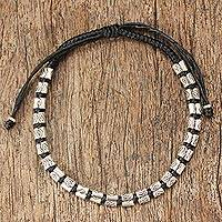 Silver accented braided bracelet, 'Hill Tribe Midnight' - Hand Crafted Hill Tribe Silver Braided Bracelet