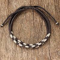 Silver accent braided bracelet, 'Hill Tribe Trio'