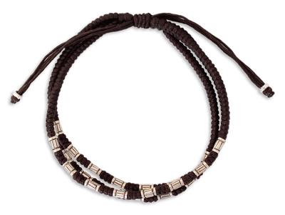 Silver accent braided bracelet, 'Hill Tribe Trio' - Silver Beaded Bracelet