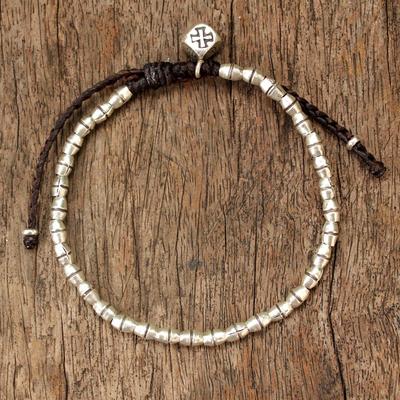 Silver braided bracelet, 'Hill Tribe Cross' - Handmade Silver Bracelet