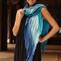 Silk scarf, 'Blue Magnificence' - Handcrafted Silk-Blend Scarf from Thailand