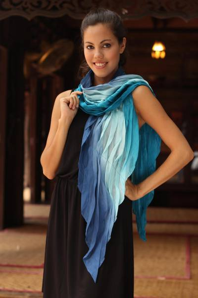 Silk scarf, 'Blue Magnificence' - Hand Made Ombre Silk Scarf