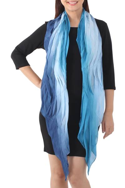 Silk scarf, 'Blue Magnificence' - Hand Made Batik Scarf