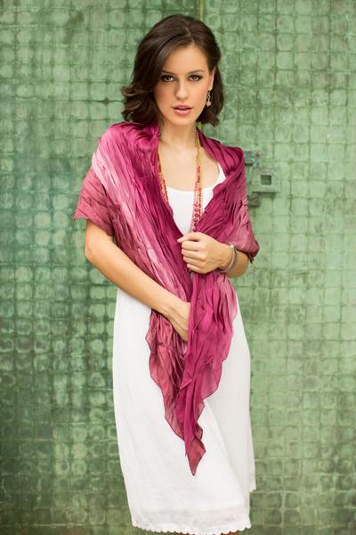 Silk scarf, 'Rose Magnificence' - Silk Blend Batik Scarf