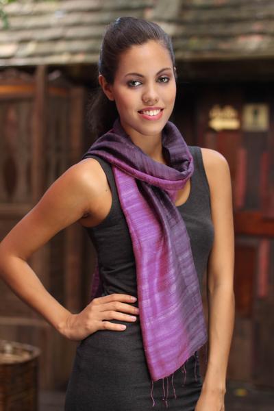 Silk scarf, 'Bold Orchid' - Silk Scarf from Thailand