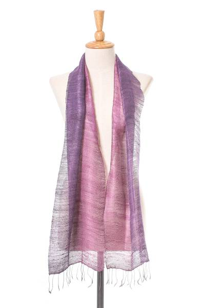 Silk scarf, 'Bold Orchid' - Pink and Purple Silk Scarf from Thailand