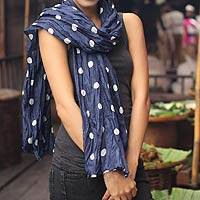 Batik scarf, 'Blue Polka Retro'