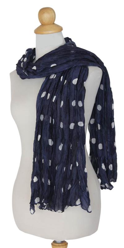 Batik scarf, 'Blue Polka Retro' - Batik scarf