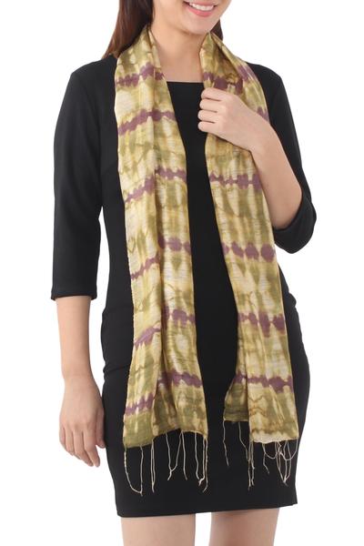 Silk scarf, 'Purple Wilderness' - Thai Silk Scarf