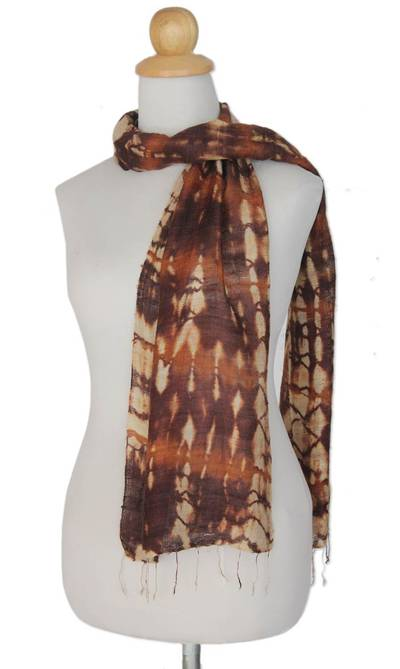 Silk scarf, 'Earth Wilderness' - Hand Made Silk Scarf