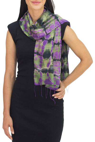 Silk scarf, 'Green Wilderness' - Tie Dye Scarf from Thailand