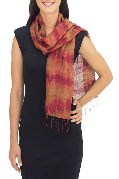 Silk scarf, 'Crimson Wilderness' - Unique Silk Scarf from Thailand