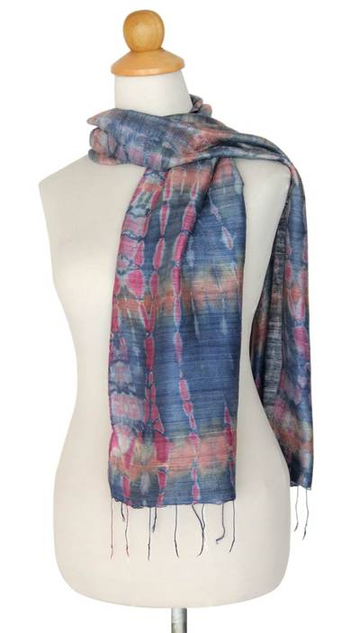 Silk scarf, 'Gray Wilderness' - Silk Scarf from Thailand