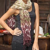 Scarf, 'Fabulous Earth' - Thai Rayon and Silk Blend Tie-Dyed Scarf