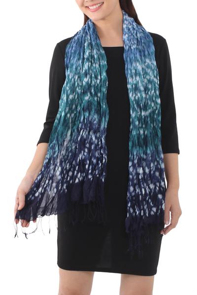 Scarf, 'Fabulous Sea' - Tie Dye Scarf