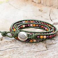 Jasper wrap bracelet, 'Forest Enchantment'