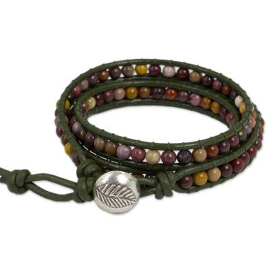 Jasper wrap bracelet, 'Forest Enchantment' - Handcrafted Leather and Agate Wrap Bracelet