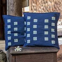 Cotton batik cushion covers, 'Exotic Indigo' (pair)