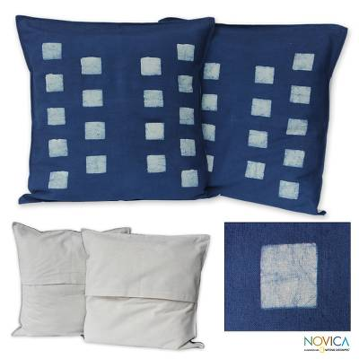 Cotton batik cushion covers, 'Exotic Indigo' (pair) - Cotton batik cushion covers (Pair)