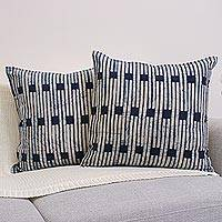 Cotton batik cushion covers, 'Hill Tribe Stripes' (pair)