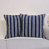 Cotton batik cushion covers, 'Hmong Paths' (pair) - Batik Cotton Striped Cushion Covers (Pair)