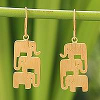 Gold vermeil dangle earrings, 'Elephant Stack' - Thai Gold Vermeil and Sterling Silver Elephant Earrings