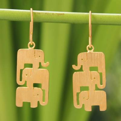 Gold vermeil dangle earrings, Elephant Stack