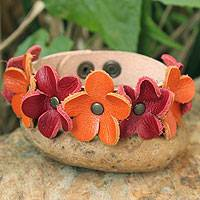 Leather wristband bracelet, 'Frangipani Fantasy' - Handcrafted Leather Wristband Bracelet