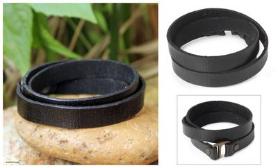 Leather wrap bracelet, 'Enigma in Black' - Unique Leather Wrap Bracelet