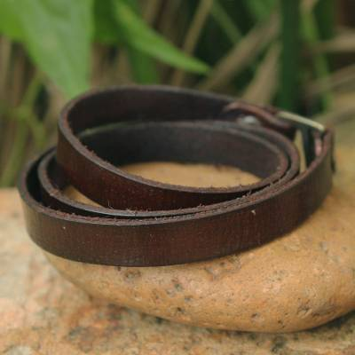 Leather wrap bracelet, 'Enigma in Brown' - Leather wrap bracelet