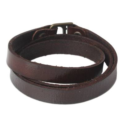 Leather wrap bracelet, 'Enigma in Brown' - Leather wrap bracelet