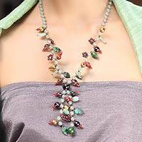 Beaded Y-necklace, 'Spring Romance' - Beaded Y-necklace